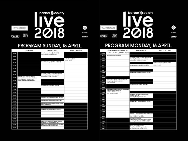 Programma BarberSociety Live bekend